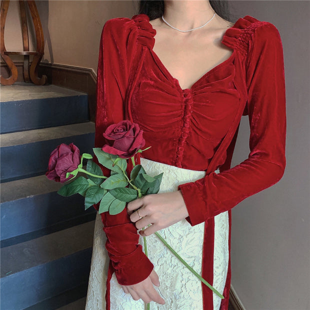 Velvet Red Ruched Corset Top