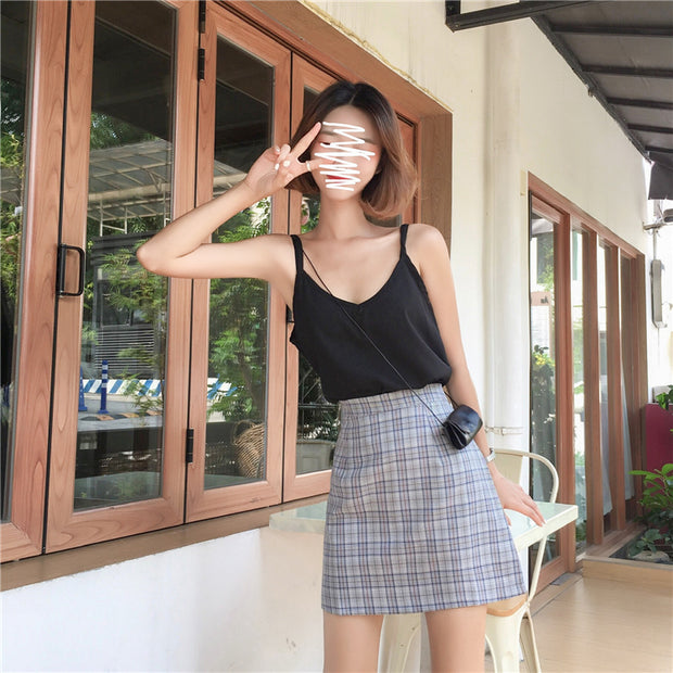 Plaid Grid Highwaisted Mini Skirt