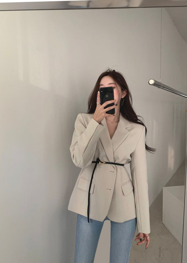 Belted Casual Blazer Jacket