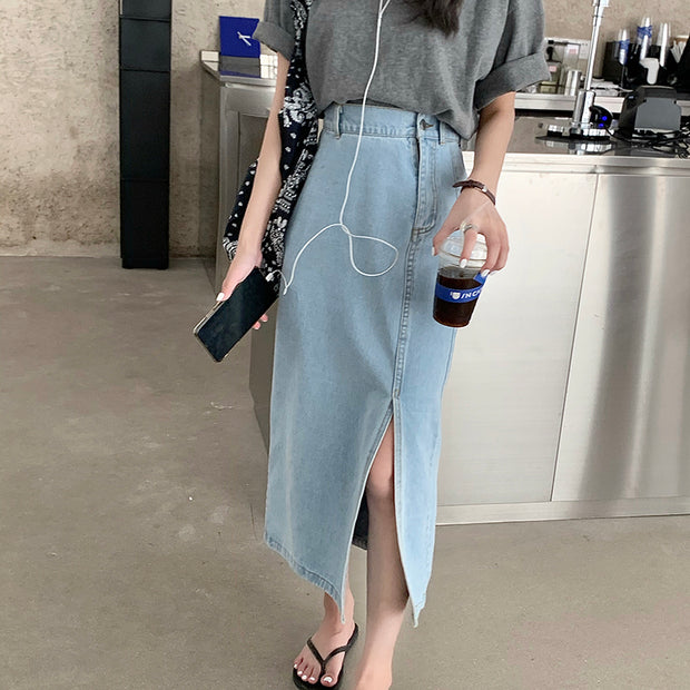 Side Slit Denim Maxi Skirt