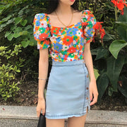 Color Bomb Floral Off Shoulder Top