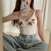 Flower Embroidered Tank Top