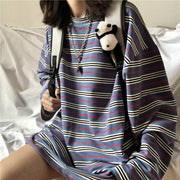 Blue Oversize Striped Pullover