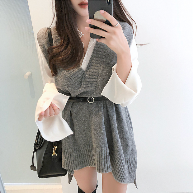 Oversize Knit Sweater Vest