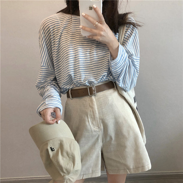 Soft Blue Striped Shirt & Casual Belted Shorts