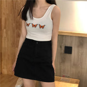 Monarch Butterfly Embroidered Tank Top