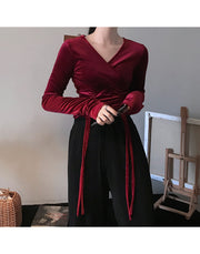 Velvet Drawstring Long Sleeve Top