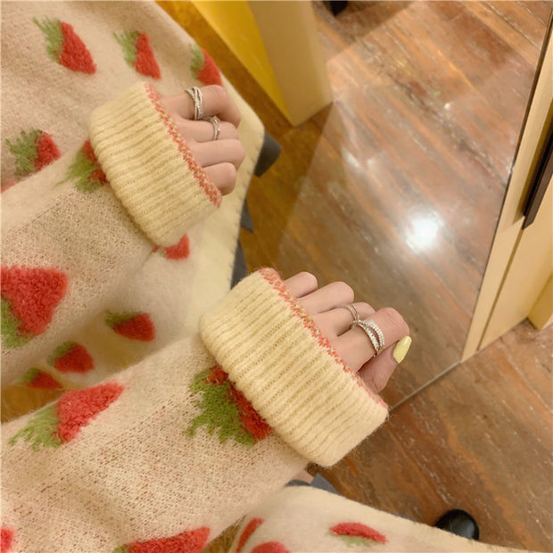 Fuzzy Fruit Oversize Sweater
