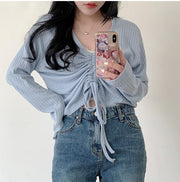 Soft Blue Drawstring Pullover