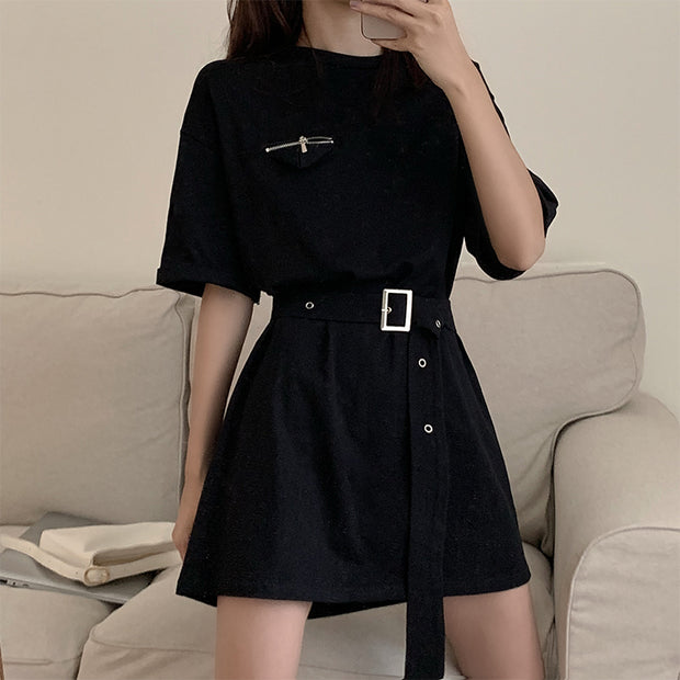 Chic Belted Oversize T-Shirt Dress