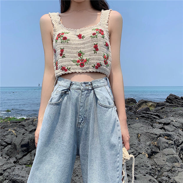 Floral Embroidered Knit Tank Top