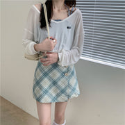 Lucia Casual Plaid Outfit Set