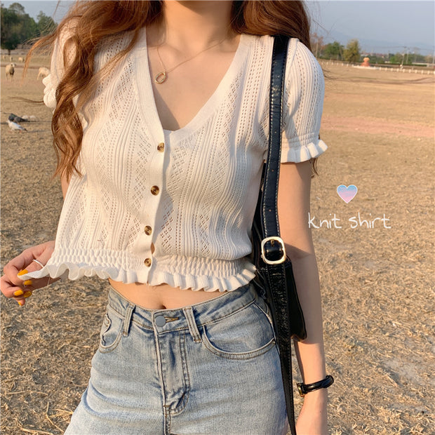 Ruffled Knit Button Down Top