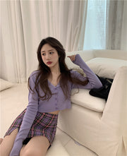 Violet Touch Cardigan & Skirt Set