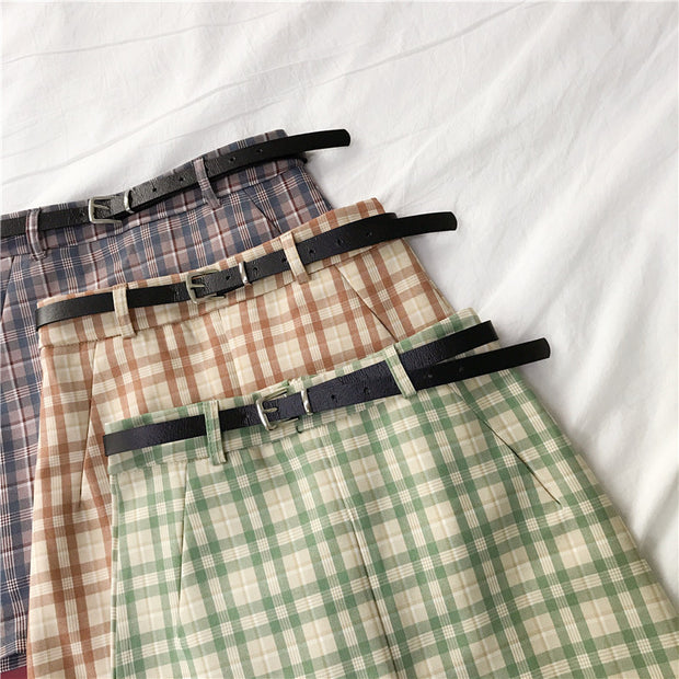 Pastel Retro Plaid Mini Skirt
