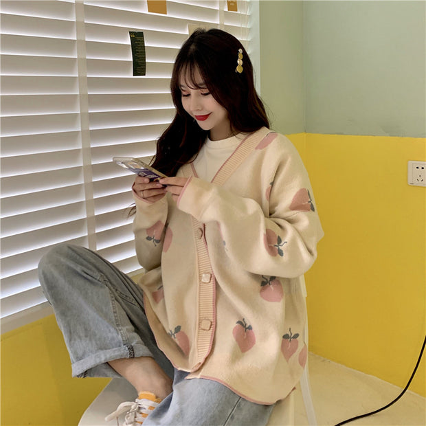 Soft Peach Oversize Cardigan