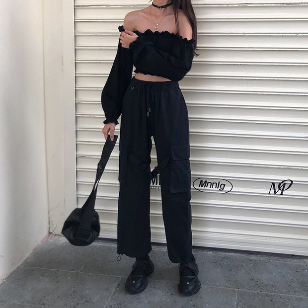 Chic All Black Top & Pants Set