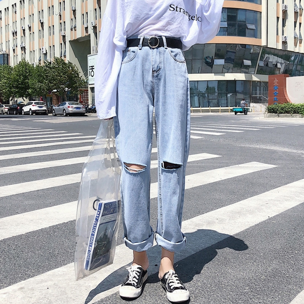 Casual Slit Light Denim Jeans