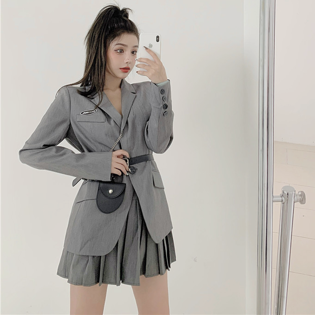 Chic Gray Blazer & Skirt Set
