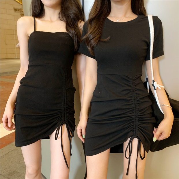 Chic Drawstring Mini Dress