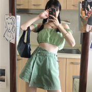 Soft Green Plaid Outfit Set