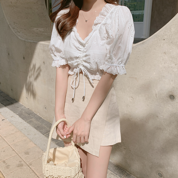 Puffy Sleeve Lace Top & Beige Skorts Set