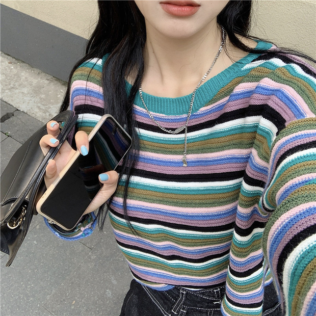 Colorful Striped Cropped Sweater