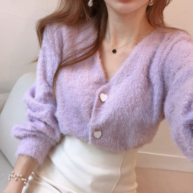 Fuzzy Heart Button Cardigan