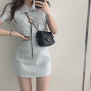 Blue Distressed Pearl Button Top & Skirt Set