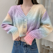 Pastel Gradient Knit Cardigan