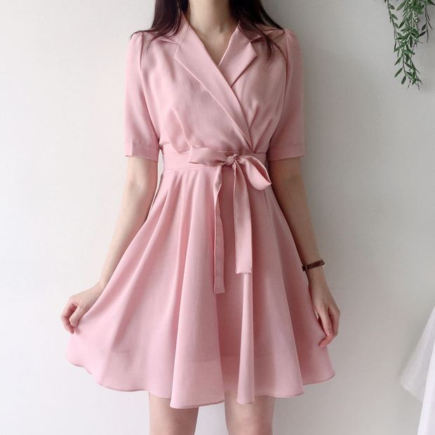 Elegant Wrap Ribbon Dress