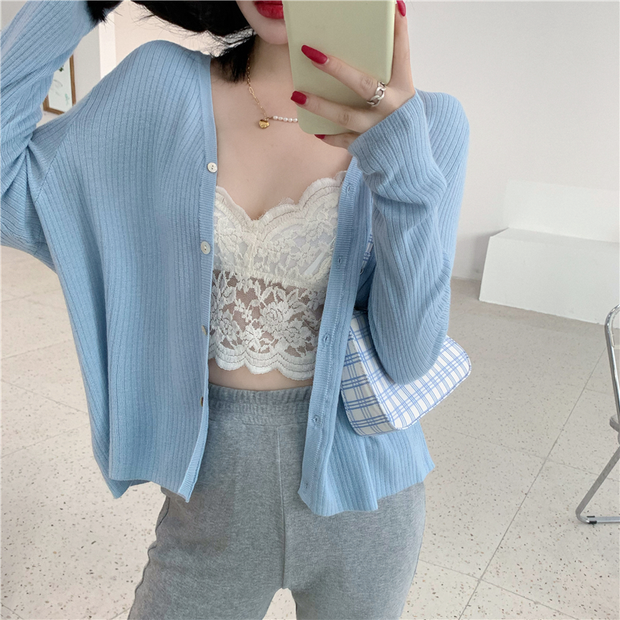 Soft Blue Lace Trim Outfit Set