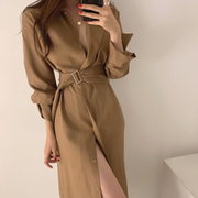 Chic Belted Side Slit Dress