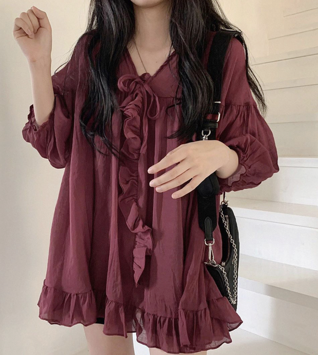 Maroon Flowy Babydoll Dress