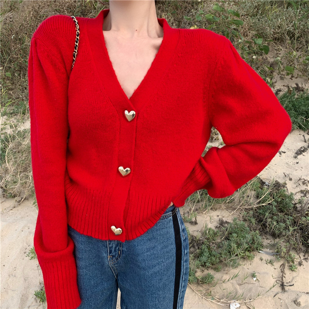 Scarlet Heart Button Cardigan