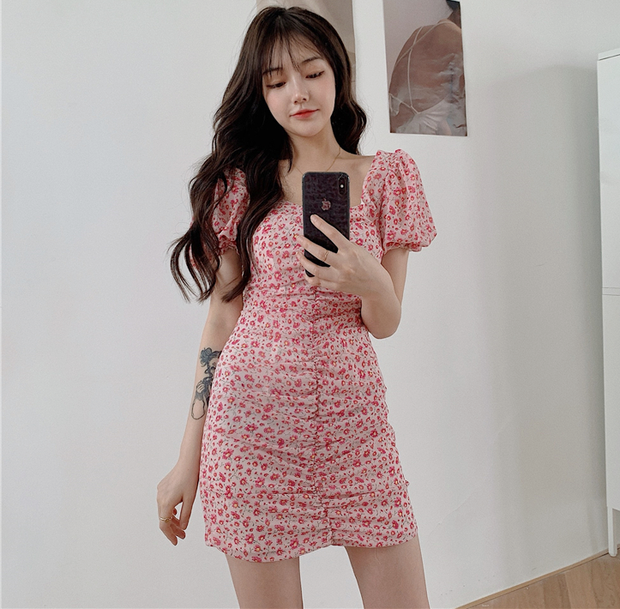 Floral Puffy Sleeve Dress