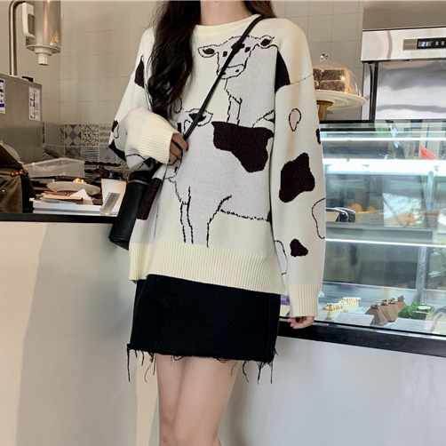 Cow Print Knit Sweater