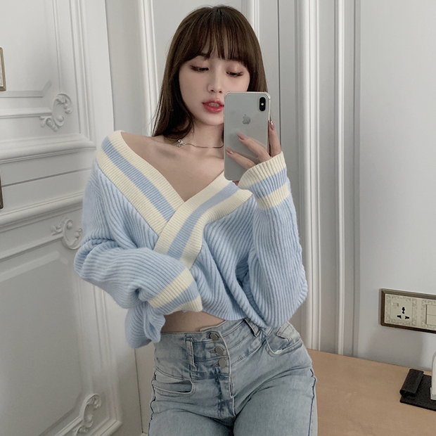 Baby Blue Criss Cross Sweater