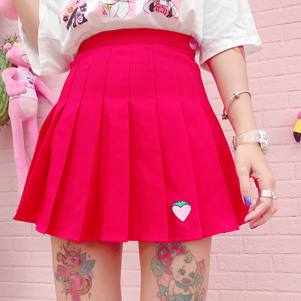 Berry Pleated Skirt (S-L)