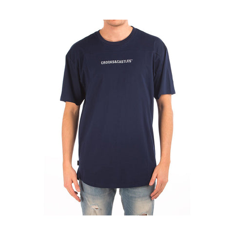 Crooks & Castles - Men's Knit Crew Football T-Shirt - Navy