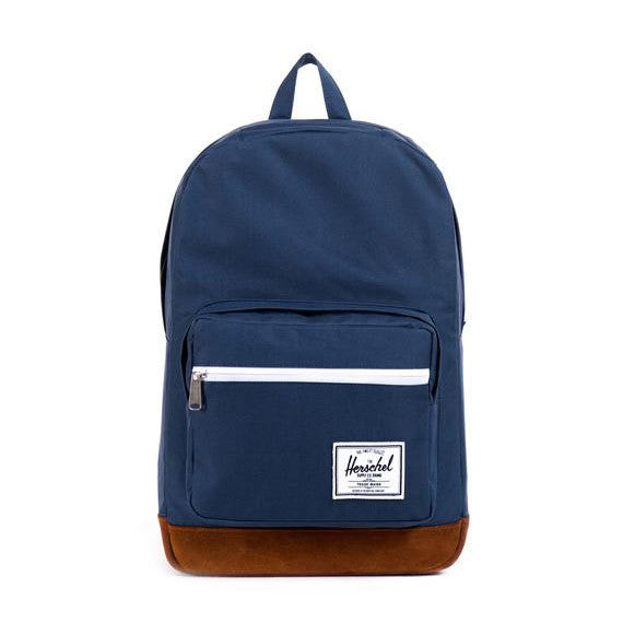 POP QUIZ POLY/SUEDE NAVY/TAN BACKPACK