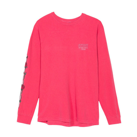 STUSSY - SKULL & ROSES PIG. DYED LS TEE - ROSE