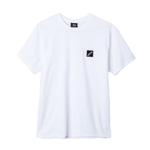 STUSSY - SQUARED EMBROIDERED TEE -WHITE