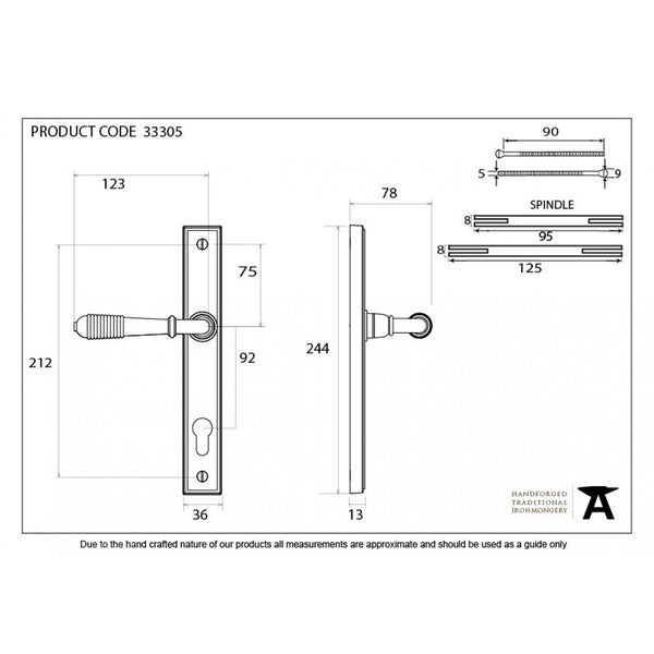 From The Anvil Polished Chrome Reeded Slimline 92mm Door Lever Espag Lock Set -  - From The Anvil - UPVCSTORE