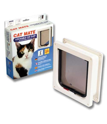 LOCKABLE CAT FLAP 2 WAY LOCKING PET MATE SMALL ENTRY EXIT DOOR LOCK BROWN WHITE -  - UPVCSTORE - UPVCSTORE