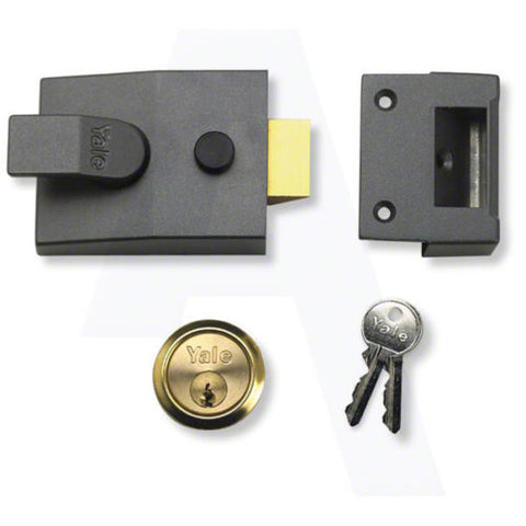 Yale Locks 91 Basic Nightlatch DMG Brass Cylinder 60mm Backset Box -  - Yale - UPVCSTORE