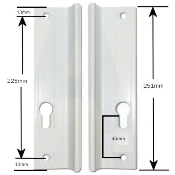 GU Quattro UPVC Inline Sliding Patio Door Handle 225mm Screw Centres Pair -  - GU - UPVCSTORE