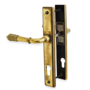 Anvil Aged Brass Reeded Slimline 92mm Door Lever Espag Lock Set -  - From The Anvil - UPVCSTORE