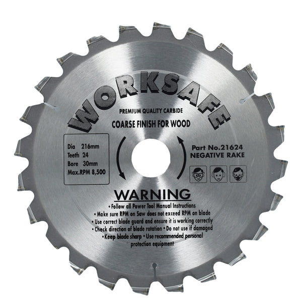 WORKSAFE TCT CIRCULAR SAW BLADES FOR WOOD 216MM & 16MM BORE 24 TEETH -  - Worksafe - UPVCSTORE