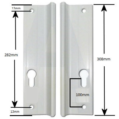 Universal Inline Patio Door Handles 282mm Screw Fix -  - upvc store - UPVCSTORE